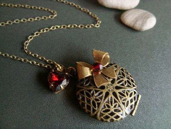 CLEARANCE . scarlet ribbon . filigree locket necklace