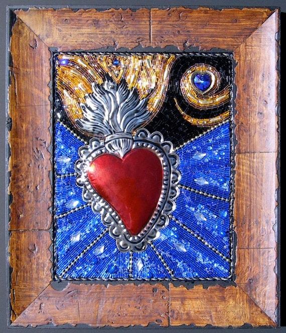 Blazing Heart (Corazon Ardiente) Beaded Mosaic