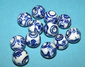 Blue and White Porcelain Fish Beads