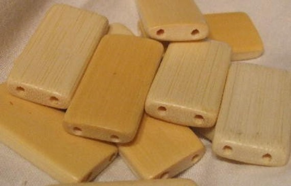 100 NATURAL BAMBOO TILE BEADS DOMINOES ALTERED ART  Charity