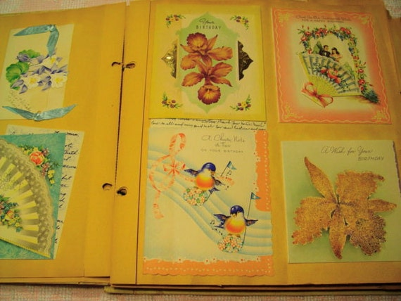 Vintage greeting cards and scrapbook