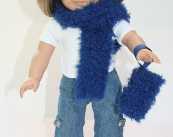 Blue Fuzzies - doll's muff and scarf