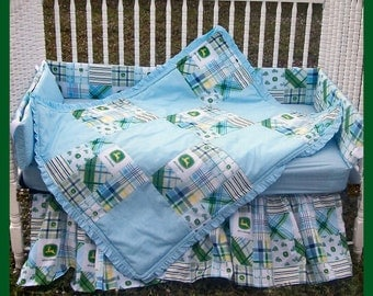 New 7 piece JOHN DEERE baby Crib Bedding Set with blue MADRAS plaid fabric