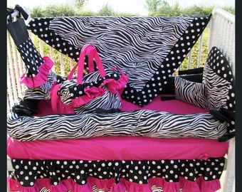 New 7 piece baby Crib Bedding Set in ZEBRA POLKA DOT and hot pink fabrics