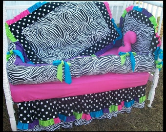 New baby Crib Bedding Set in  Black White POLKA DOT and ZEBRA rainbow color fabrics