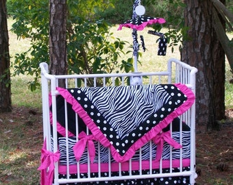 New ZEBRA POLKA DOT Mini-Crib or Porta-crib Bedding Set