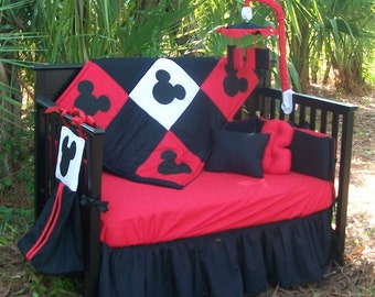 New Custom Made Disney Mickey Mouse full Crib Bedding Set