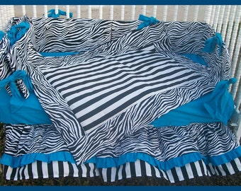 Custom Made new black and white Zebra and Stripe Crib Bedding Set with a vibrant blue accent fabric