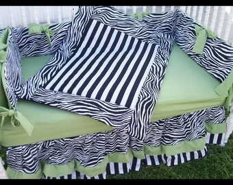 New 7 piece Black/White Zebra and Stripe Crib Bedding Set with Sage Green accent