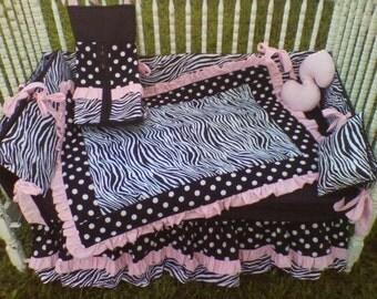 New Black White Polka Dot Zebra and Pastel Pink fabrics Crib Bedding Set