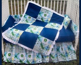 New 7 Piece John Deere baby Crib Bedding Set with blue Madras plaid fabric