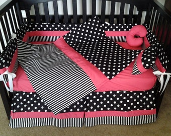 New POLKA DOT and STRIPE hot pink black white baby Crib Bedding Set