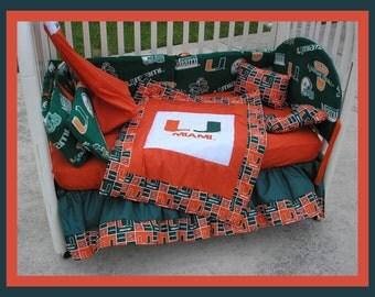 SALE!! NEW 7 piece baby crib bedding set in Miami Hurricanes NCAA college team fabrics