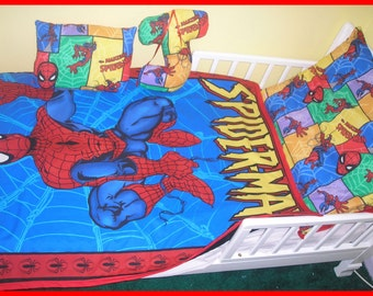 NEW 3 piece crib toddler bedding set made in SPIDERMAN fabric with blanket, fitted sheet, pillowcase, more