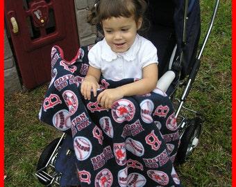 New BOSTON RED SOX baby crib stroller blanket made in fleece fabric