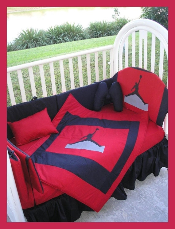 New Custom Made Michael Jordan Jumpman Crib Bedding Set