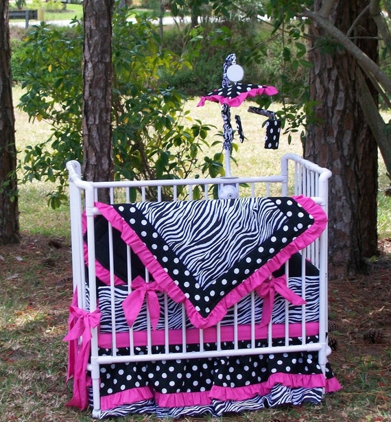 Zebra Polka Dot Mini Crib Bedding by KustomKidsBedding