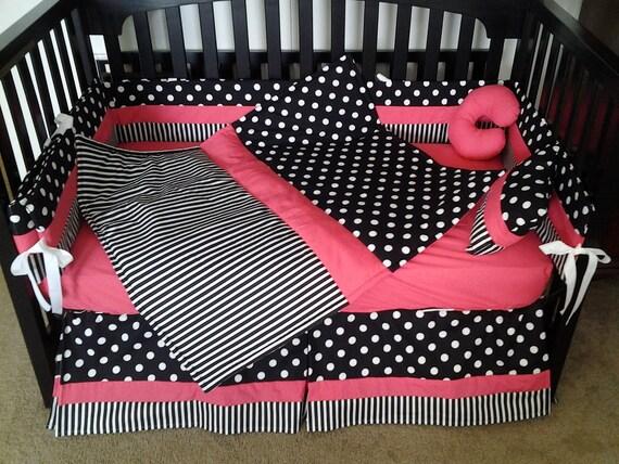 New Polka Dot And Stripe Hot Pink Black White Baby Crib