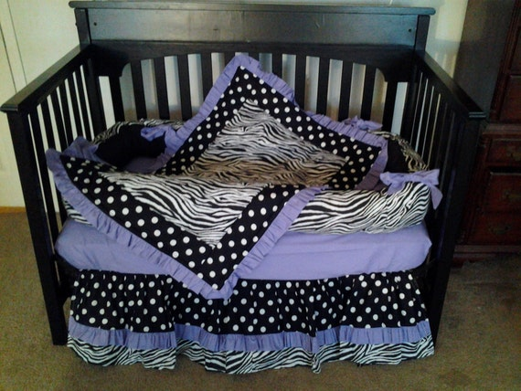 New Baby Crib Bedding Set In ZEBRA POLKA DOT By KustomKidsBedding