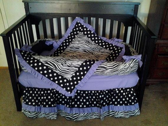 New Baby Crib Bedding Set In ZEBRA POLKA DOT And Solid