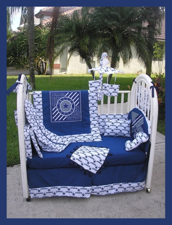 new nursery custom made baby crib bedding set in dallas cowboys fabric