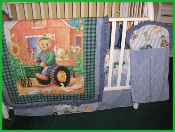John Deere Teddy Bears : New baby full crib bedding set in john deere teddy bear
