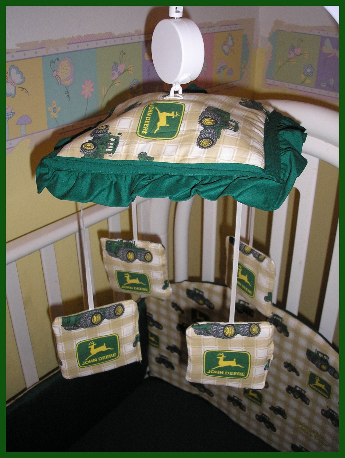 Tractor Mobile For Cribs : New musical crib mobile made in john deere tractor fabrics