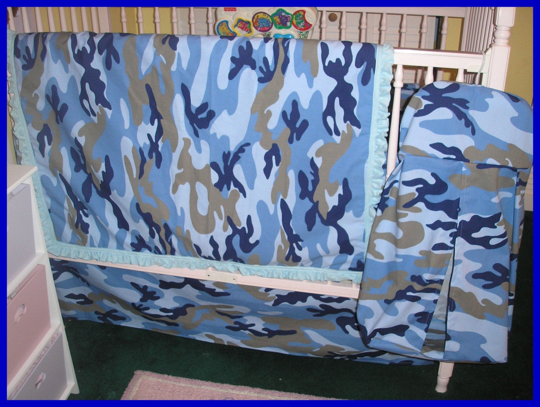 Blue Camoflauge Camo New 7 Piece Crib Bedding Set
