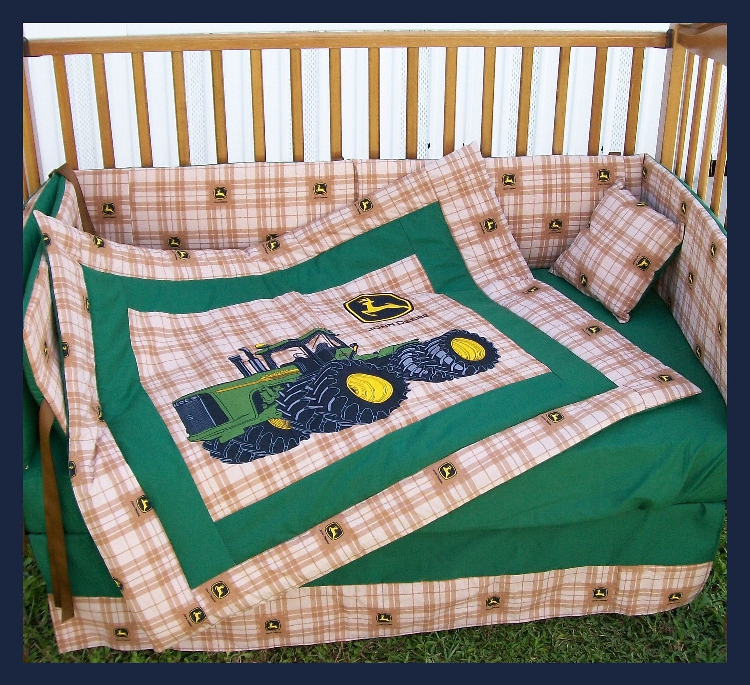 John Deere Crib Sets For Boys : Sale new piece john deere crib bedding set with large