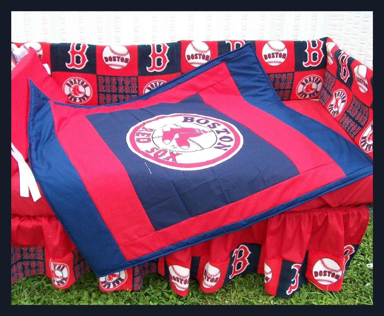 Custom Made Boston RED SOX Full Crib Bedding Set NY Baseball