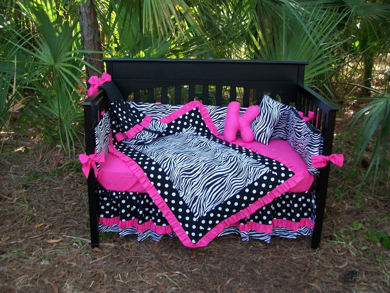 New Black White Polka Dot Zebra And Hot Pink Fabrics