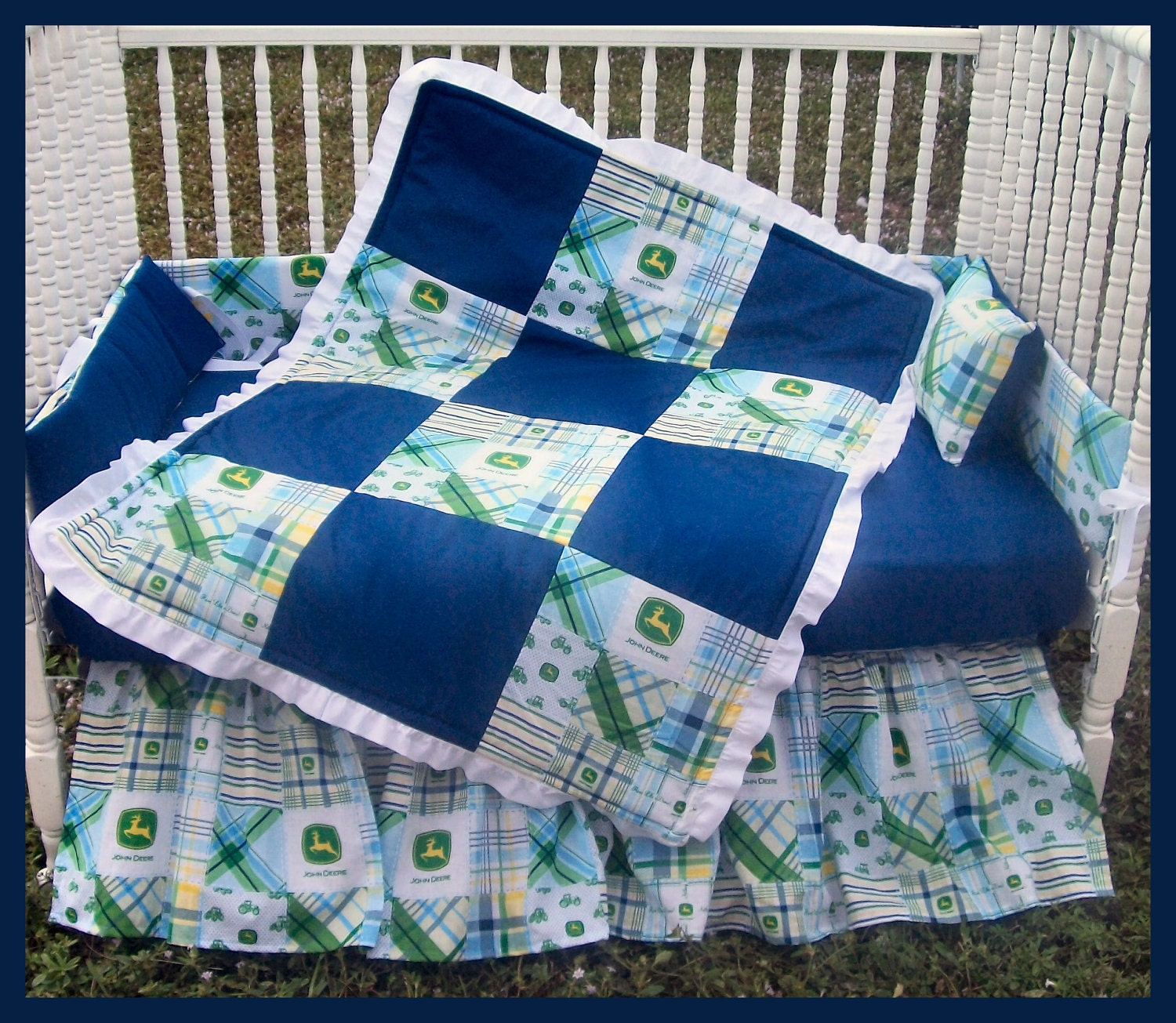 New 7 Piece John Deere baby Crib Bedding Set with blue Madras