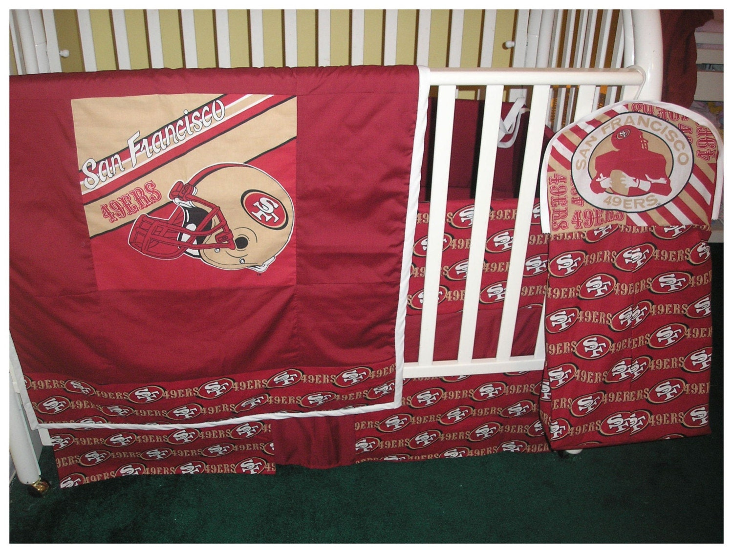 Football Crib Sheet : New piece crib bedding set made with any nfl football team