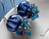 Breeze - boro glass, apatite, amethyst, labradorite & sterling silver earrings