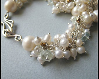 COUTURE Marchesa necklace - freshwater pearls, aquarmarine & sterling silver