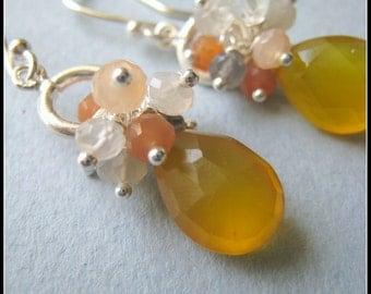Ana earrings - chalcedony, moonstone & sterling silver