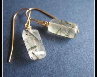 SIMPLICITY Matrix earrings - rutilated quartz & 14k goldfilled