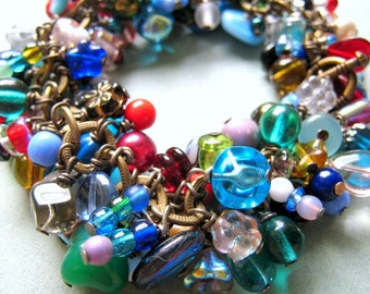 TEXTURED Florence - rainbow pressed Czech glass beads, freshwater pearls, glass pearls and brass bracelet