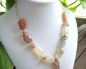 COUTURE Clair De Lune necklace - moonstone, carnelian, jade and goldfilled