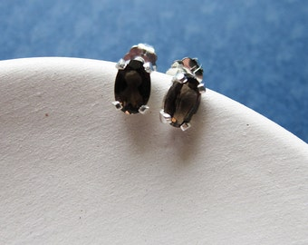 Serena earrings - smoky quartz & sterling silver