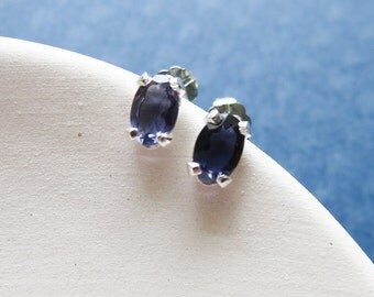 Ira earrings - iolite & sterling silver