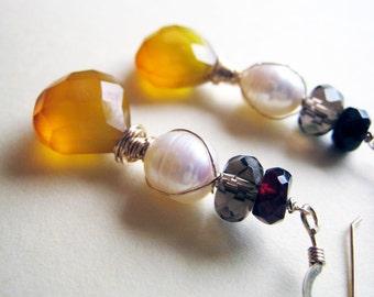 Bel earrings - chalcedony, pearls, gemstones & goldfilled