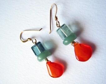 Curiosity - carnelian, fluorite and goldfilled earrings