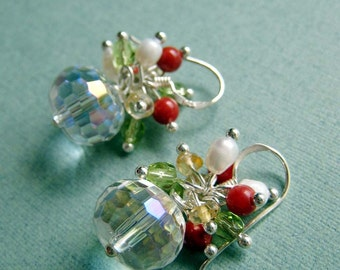 Felicity - mystic rock crystal, citrine, red coral, freshwater pearls and sterling silver earrings