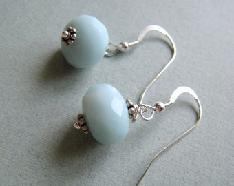 SIMPLICITY Amazonite - amazonite and sterling silver earrings