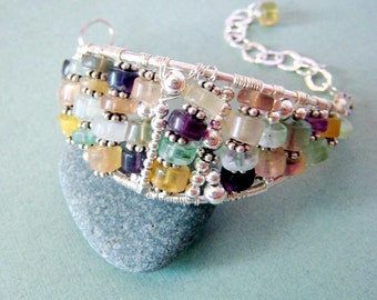 COUTURE Leaf - fluorite and sterling silver cuff bracelet