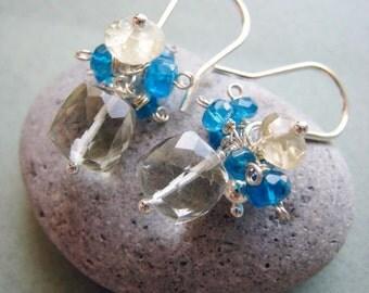 Sunshine - green amethyst, lemon quartz, electric blue apatite and sterling silver earrings