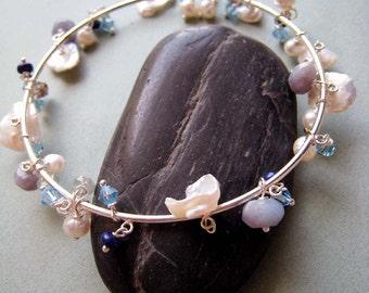 Mer bangle bracelet - lapis, pearls & sterling silver