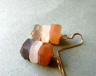 Luna - rainbow moonstone, vermeil and goldfilled earrings