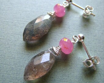 Quiet - labradorite marquise, pink sapphire and sterling silver earrings